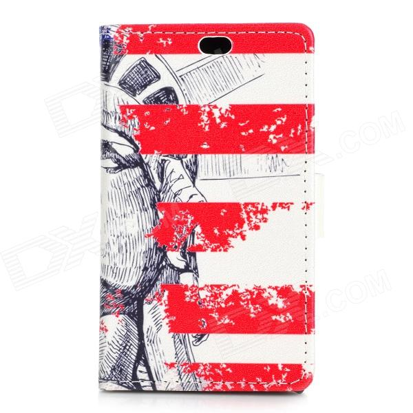 Statue of Liberty Pattern Flip Open PU + PC Case w/ Stand / Card Slots for Nokia 525 / 520 statue of liberty pattern protective pu flip open case w strap card slots for samsung galaxy s5