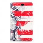 Statue of Liberty Pattern Flip Open PU + PC Case w/ Stand / Card Slots for Nokia 525 / 520