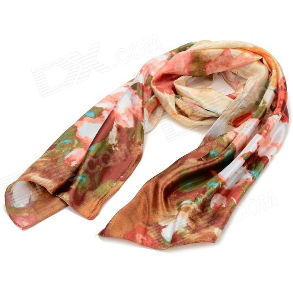ZEA5-16-1W Ink Painting Pattern Silk Long Scarf - Golden + Multicolored