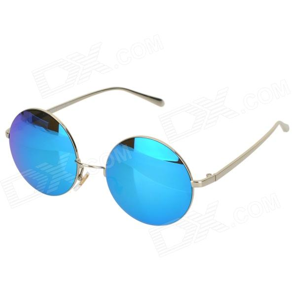 OREKA S894 UV400 Protection High-nickel Alloy Round Frame PC Lens Sunglasses - Silver + Blue + Grey retro women sunglasses polarized driving sun glasses with pc metal hinge shades uv400 protection gafas de sol mujer 4 colors