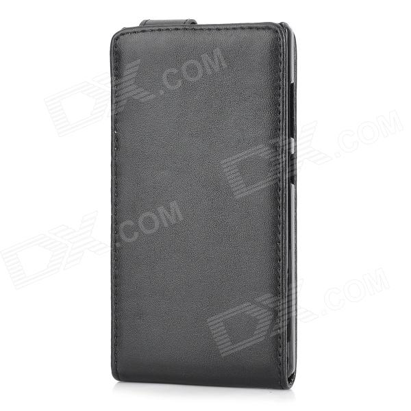 Stylish Protective PU Top Flip Open Case for HUAWEI Honor 3C - Black