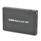 HDMI RGB Matrix 4x2 Hifi Switcher / Distributor w/ 3D Function - Black (1 x CR2025)