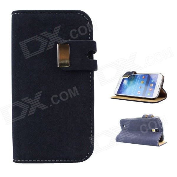 Protective PU Leather Case Cover Stand for Samsung Galaxy S4 i9500 - Deep Blue