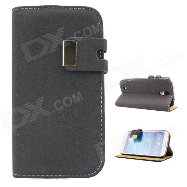 Protective PU Leather Case Cover Stand for Samsung Galaxy S4 i9500 - Deep Grey protective pu leather case cover stand for samsung galaxy s4 i9500 deep grey