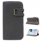 Protective PU Leather Case Cover Stand for Samsung Galaxy S4 i9500 - Deep Grey