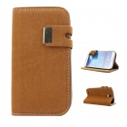 Protective PU Leather Case Cover Stand for Samsung Galaxy S4 i9500 - Brownish Yellow