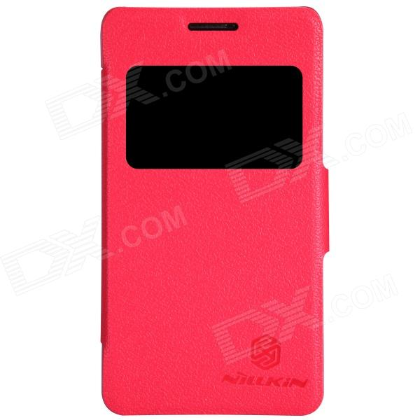 NILLKIN Protective PU Leather + PC Case Cover w/ Visual Window for SONY Xperia E1 D2105 - Red nillkin protective pu leather pc case cover for htc d316d d516t red