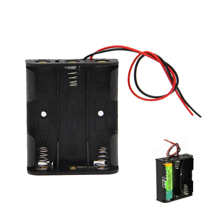DIY 4.5V 3-Slot / 3 x AA Battery Holder Case Box with Leads - Black 15pcs 14500 battery holder single diy 1 aa battery box case 1 5v with pin