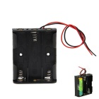 DIY 4.5V 3-Slot / 3 x AA Battery Holder Case Box with Leads - Black