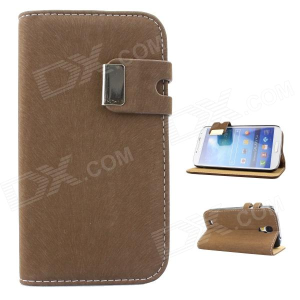 Protective PU Leather Case Cover Stand for Samsung Galaxy S4 i9500 - Deep Brown