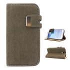 Protective PU Leather Case Cover Stand for Samsung Galaxy S4 i9500 - Army Green