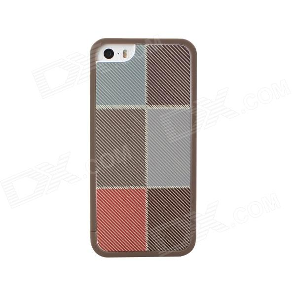 TPU Vintage Style Check Pattern Case for IPHONE 5 / 5S - Coffee for iphone 7 plus 5 5 inch glossy tpu cellphone case with cartoon pattern bunny