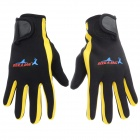 Professional Diving / Sailing / Snorkeling Full-Finger SCR + Nylon Gloves - Black + Yellow (Pair/M)