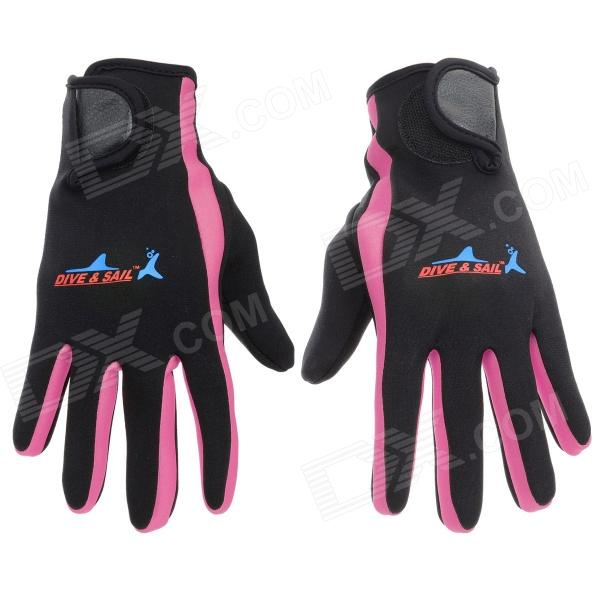 Professional Diving / Sailing / Snorkeling Full-Finger SCR + Nylon Gloves - Black + Pink (Pair/S)
