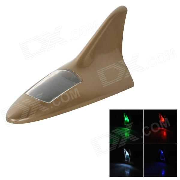 Universal Shark Fin stil Solar Power 8-LED RGB + White Light Car Alarm lampe - gylne