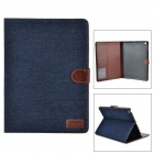 KWEN iao111 Protective PU + Cloth Case w/ Stand / Auto-Sleep for IPAD AIR - Dark Blue + Brown
