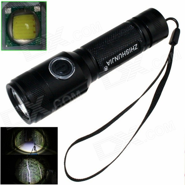ZHISHUNJIA 1-LED 900lm 4-Mode White Light Flashlight w/ Strap - Black