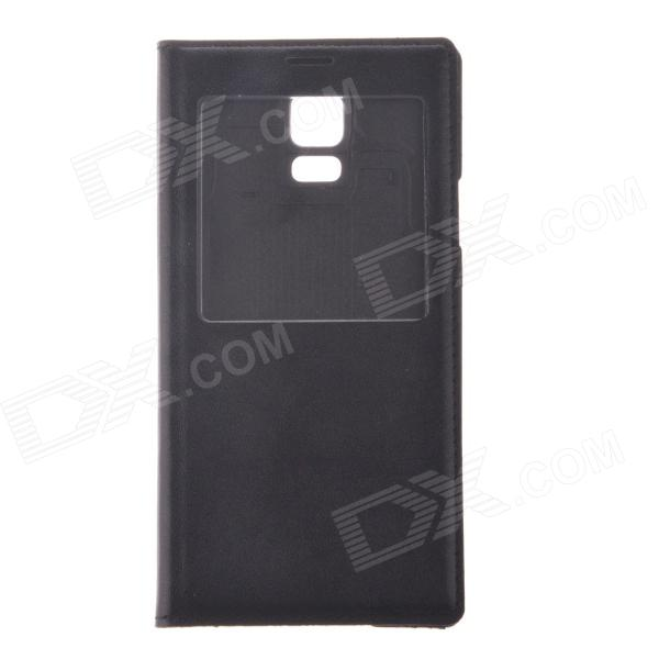 Protective PU Leather + Plastic Case Cover w/ Visual Window for Samsung Galaxy S5 - Black