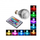 E27 9W 160lm 6-SMD 5630 LED RGB Light Lamp Bulb w/ Remote Controller - White + Silver (AC 220~240V)