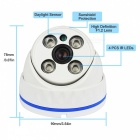 JOOAN JA-737KRC-T-3.6 720P IP Security Camera with IR-CUT / Conch Dome Camera - White
