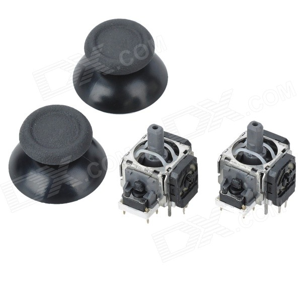 Replacement 3D Joystick + Joystick Cap for PS4 - Black (2Pairs)