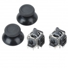 Replacement 3D Joystick + Joystick Cap for PS4 - Black (2 Pairs)