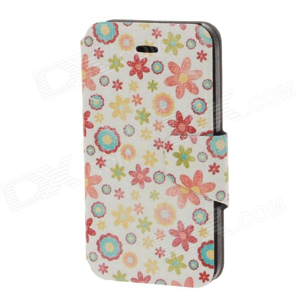 Stylish Flower Pattern PU Leather Case for IPHONE 4 / 4S - White + Red
