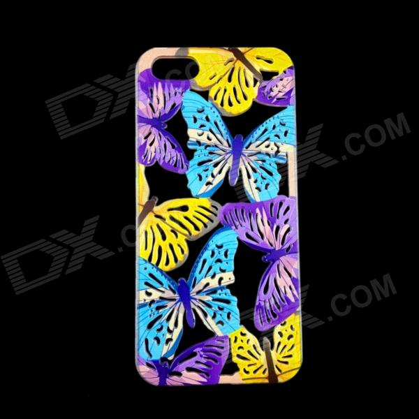 Hollow-Out Butterfly Style Protective Plastic Back Case for IPHONE 5 / 5S - Blue + Purple