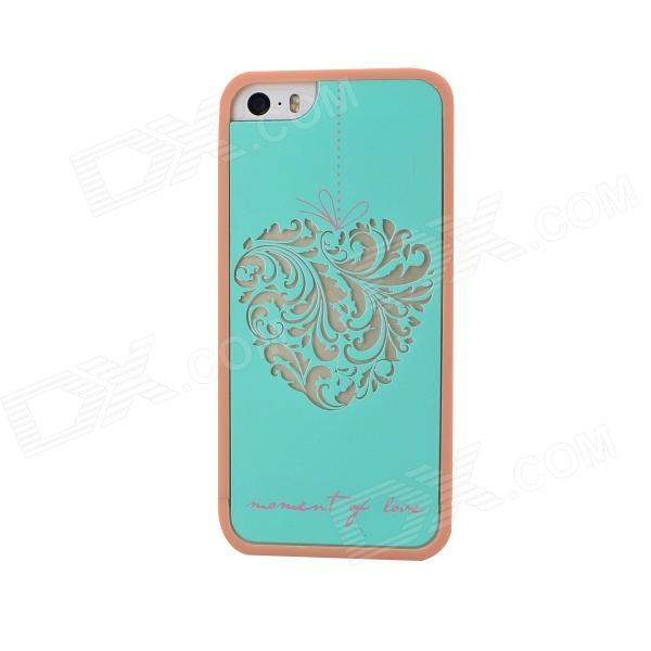 Fashion TPU Heart Shape Case for IPHONE 5 / 5S - Cyan mercury goospery flash powder gel tpu case cover for iphone se 5s 5 cyan