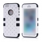 Grid Pattern w/ Crystal Design Protective Silicone Back Case for IPHONE 5 / 5S - White + Black