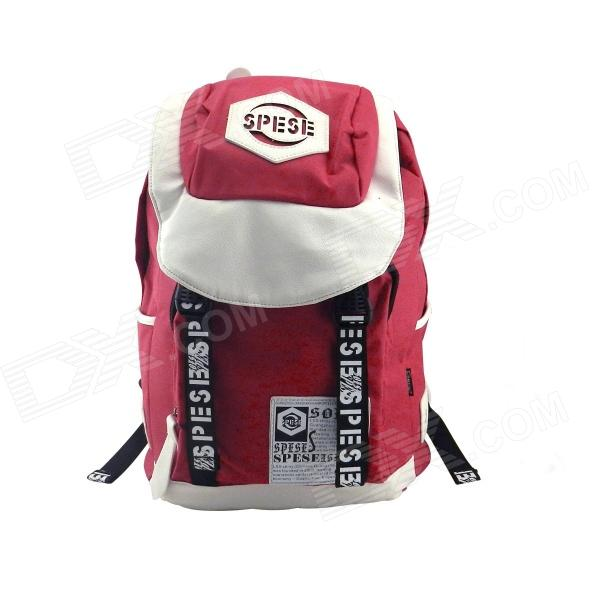 LSS-50B 14 Portable Nylon Backpack Laptop Bag - Red + White - DXBags &amp; Pouches<br>New environmentally friendly fabric color fastness good with a special weaving dyeing process abrasion does not fade; High quality PU zipper comfortable feel; Main pocket for clothes documents homesick; Main bag has a mezzanine that can be placed Tablet PC<br>