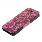 Blommönster PU Leather + plast för iPhone 5 / 5S - Rosa + Brown
