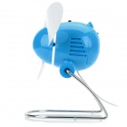 Mini Foldable AA Battery / USB-powered 2-blade Electric Fan - Blue