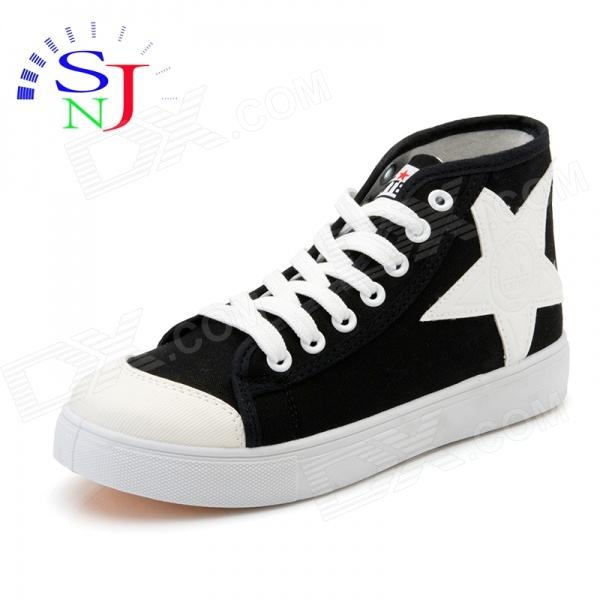 Women's High-top Star Icon Casual Canvas Shoes - Black + White (EUR Size 38) black diamond icon