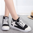 Women's High-top Star Icon Casual Canvas Shoes - Black + White (EUR Size 38)