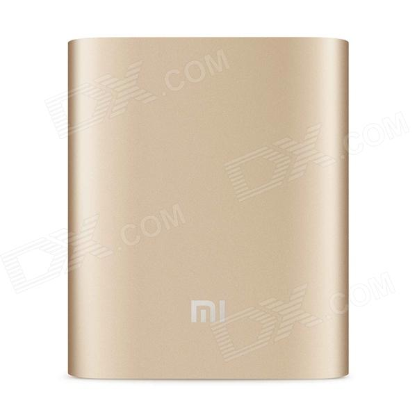XIAOMI 10400mAh Li-ion Battery USB Mobile Power Source Bank - Golden xiaomi universal 10400mah usb li ion battery power bank w 4 led indicators deep pink