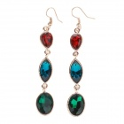Stylish Elegant Drop-shaped Rhinestone Earrings for Women - Red + Blue + Multi-Colored (Pair)