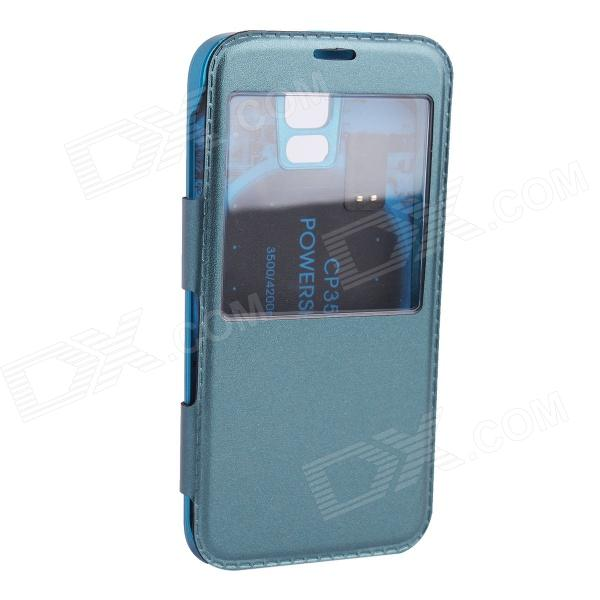 5V 2800mAh External Power Back Battery Case w/ PU Leather Cover for Samsung Galaxy S5 - Blue user