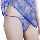 Spandex Soft Lace Perspective Sexy Nighty - Royal Blue (Size XXL)