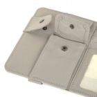 CDY Leather Car Sun Visor Hanging Type CD Card Holder Clip - Grey