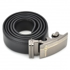 Men's Fashionable Zinc Alloy Automatic Buckle Split Leather Waist Belt - Black
