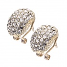 EQute Cute Shiny White Rhinestones Oval Shape Stud Earrings for Women - Golden