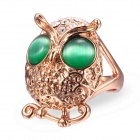 EQute Lovely Golden Owl with Pair of Green Eyes Finger Ring for Women - Golden + Green (Size 9)