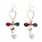 Stylish Shiny Rhinestone Pearl Earrings - Red + Beige + Multi-Colored (Pair)