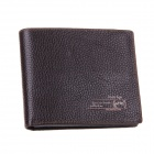 Rich Age Stylish Men's Cowhide Leather Horizontal Short Wallet Purse - Coffee