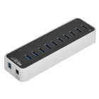 BROWAY BW-U3038A DC12V USB 3.0 10 Ports Hub w/ Data Cable + Adapter + Power Cord  - Black + White