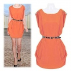 Women's / Ladies'  Fashionable Loose Chiffon Dress w/ Belt - Orange (XL)