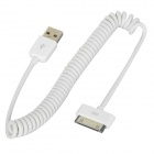MFi D&S DSM1113 Apple 30-Pin Male to USB Male Curly Cable for iPhone / iPad / iPod - White (150 cm)