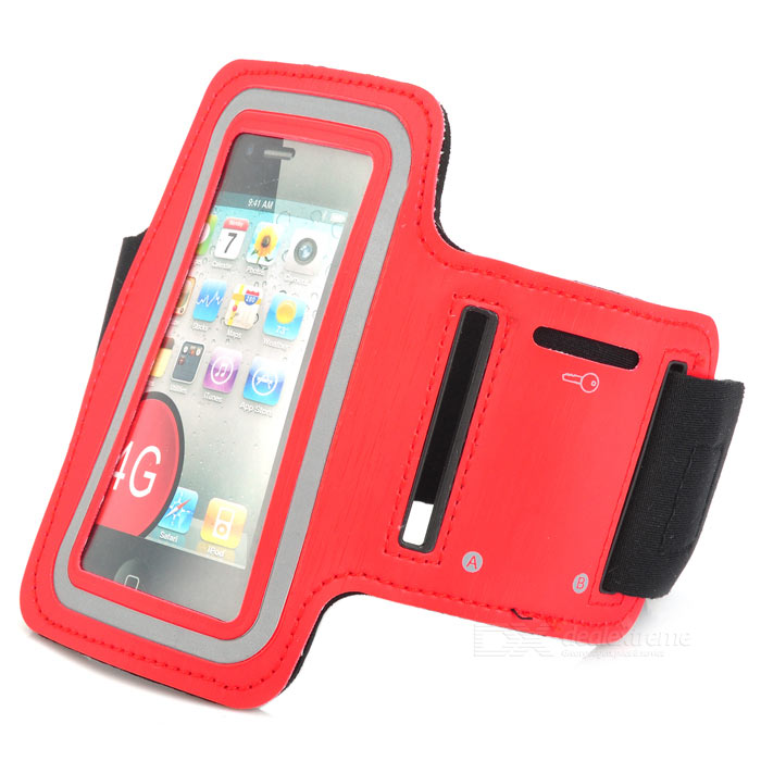 Outdoor Sports PU Armband Bag Case w/ Key Pocket / Earphone Hole for IPHONE 4 / 4S - Red + Black zippered sports armband bag pouch for iphone 4 dark blue
