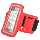 Outdoor Sports PU Armband Bag Case w/ Key Pocket / Earphone Hole for IPHONE 4 / 4S - Red + Black